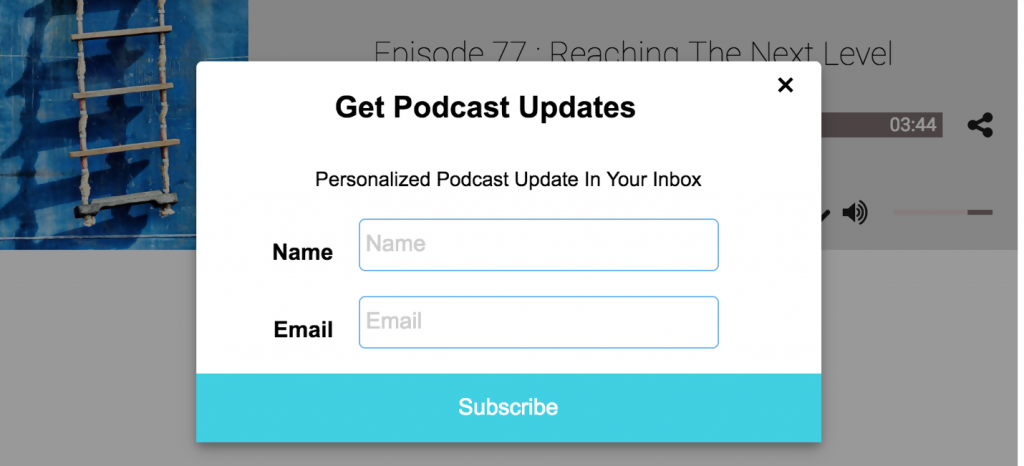 Podmio podcasting platform has forms that help generate leads